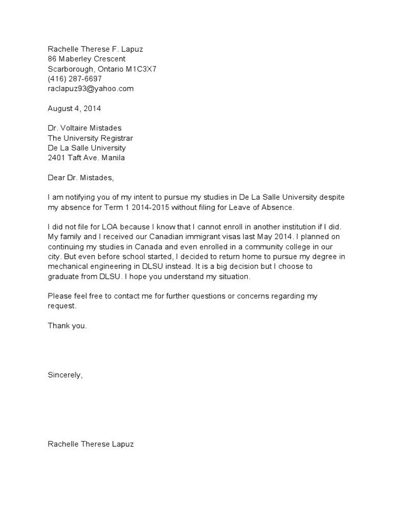Letter of intent to return to school sample spiritdancerdesigns Gallery