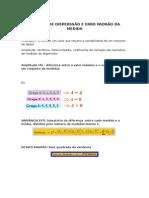Medidas de Disperssao e Erro Padrao Da Medida