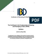Funds. Brewing-Package Beer Syllabus IBD