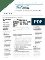 Preguntas Oftalmología. MIR 2010 – 29 Enero 2011 _ EXAMEN MIR