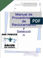 Manual de Procedimiento de Reclutamiento y Selección. Ministerio de Salud. Subdirección de Recursos Humanos. Chile