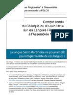 Sxminfo.fr-colloque Langues Rgionales LAssemble Nationale Compte Rendu de La FELCO