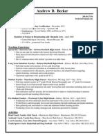 andrew becker teaching resume 2014 becker edits july edits