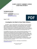 Robin Williams dead - Marin County Sheriff press release