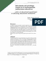 La Dificultad Del Psicologo Educacional en El Asesoramiento de Instituciones Educativas