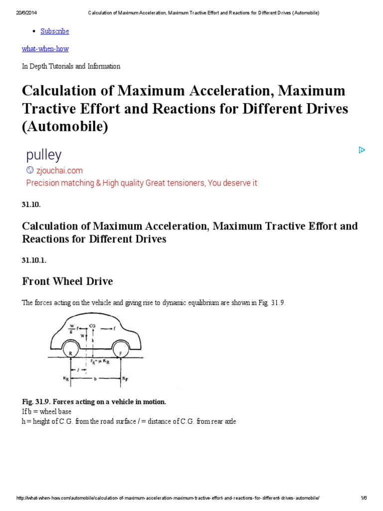 Calculation of Maximum Acceleration, Maximum Tractive Effort and ...
