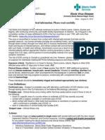 Alberta Health/Alberta Health Service Ebola advisory