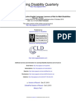 World Problem Strategy for Latino English Language Learners at Risk for Math Disabilities