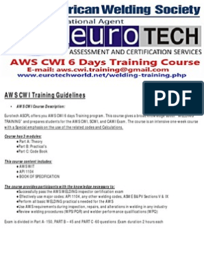 AWS CWI Training Course Guidelines | Secondary School | Diploma