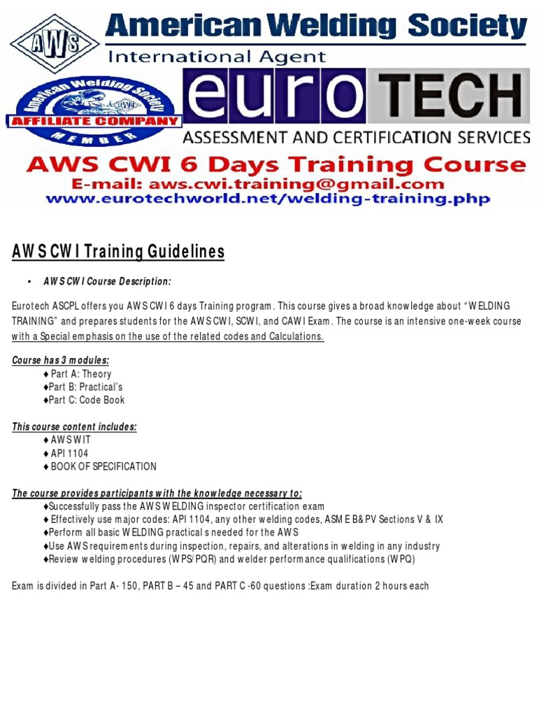 Aws Cwi Training Course Guidelines Secondary School Diploma