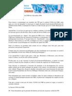 Déclaration liminaire CTP du CMD du 4 décembre 2009