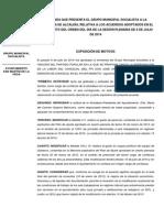 Enmienda relativa a los acuerdos adoptados en el Pleno del 9 de Julio de 2014