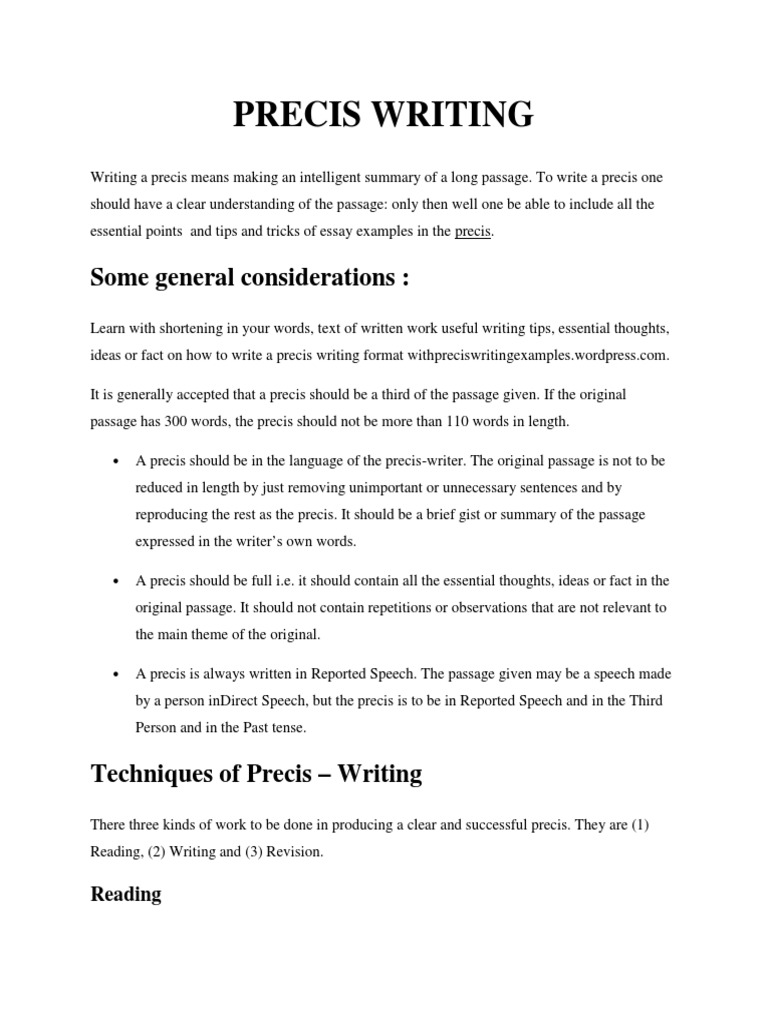 Essay and precis writing