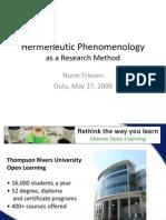Hermeneutic Phenomenology