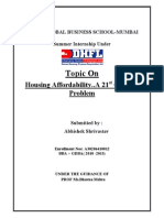 DHFL Summer Internship Report On Housing Affordability