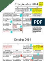 2014-2015 advisory calendar