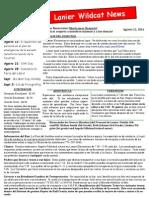August 2014 Newsletter Spanish