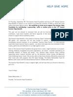 Summer Hope Sponsor Letter 2014