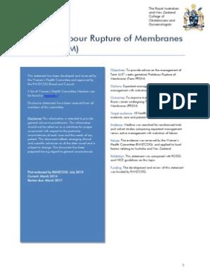 Term Prelabour Rupture of Membranes (Term Prom) (C-Obs 36