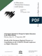 European Agenda for Change for Higher Education in XXIst Century