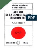 A. I. Fetísov - Acerca de La Demostración en Geometría (Lecciones Populares de Matemáticas) - MIR, 1980