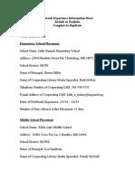 internship information sheet