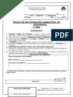 Prova de Recuperação Semstrel 7º ANO 2013