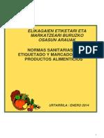 Normas Sanitarias de Etiquetado y Marcado de Los Productos Alimentarios (Enero 2014)