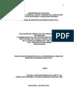 Evaluación Del Empleo de Las Tecnologías de La Información y Comunicación (TICs). Colegio José Peralta de Esmeraldas