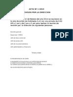 ACTA Nº 1 2014 Forbitezza