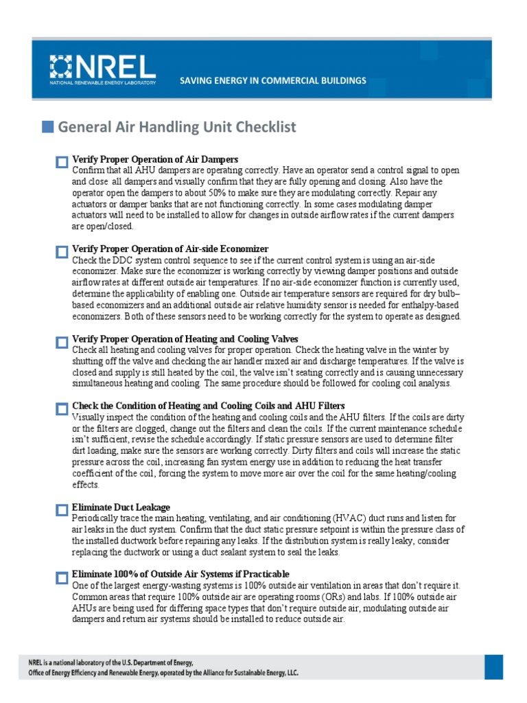 Commercial Building Checklists Compact Fluorescent Lamp Lighting Hvac Drawing Checklist