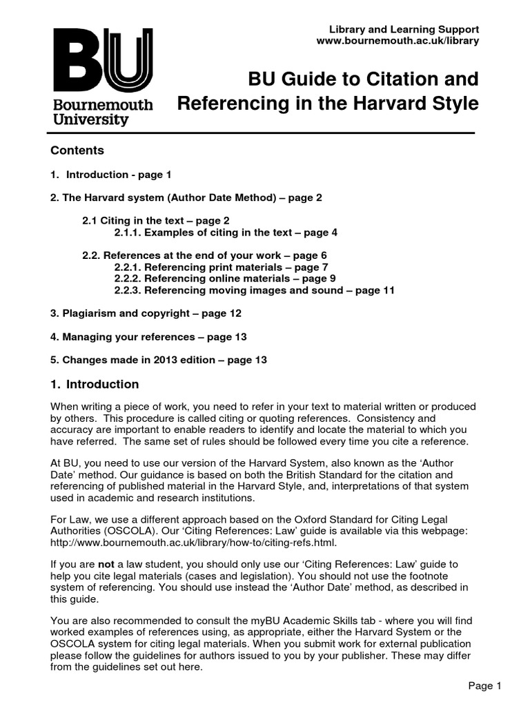 Bu Guide To Citation And Referencing Harvard Style Citation Plagiarism