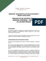 Memoria de Excavaciones-MUros Anclados -Javier Prado