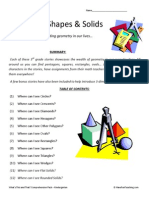 Everyday Shapes Third Grade Reading Comprehension Worksheets