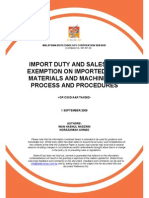 Import Duty and Sales Tax Exemption on Imported Raw Materials and Machinery Process and Procedures