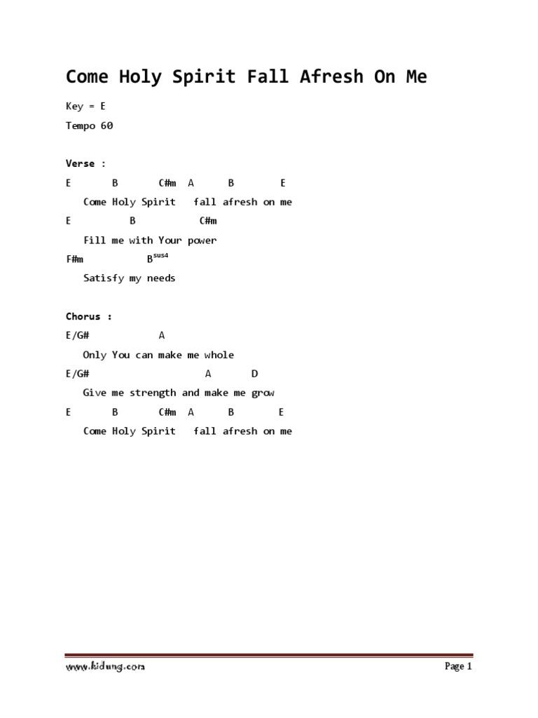 Come Holy Spirit Lyrics And Chords Key Of C
