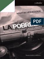 Heidegger 1945 La Pobreza (Presentación, Lacoue Labarthe)