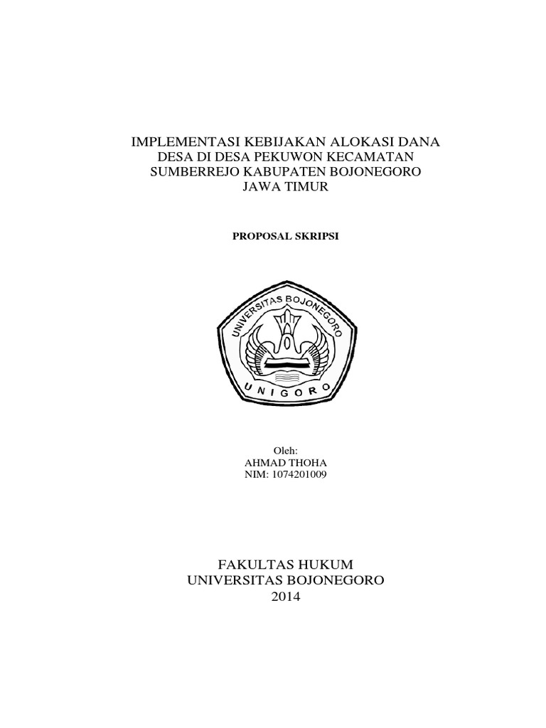 Proposal Ahmad Toha Implementasi Kebijakan Alokasi Dana Desa Docx