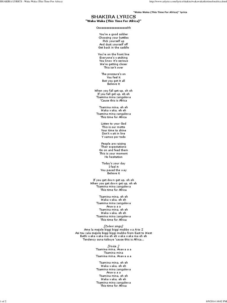 Shakira Lyrics Waka Waka This Time For Africa