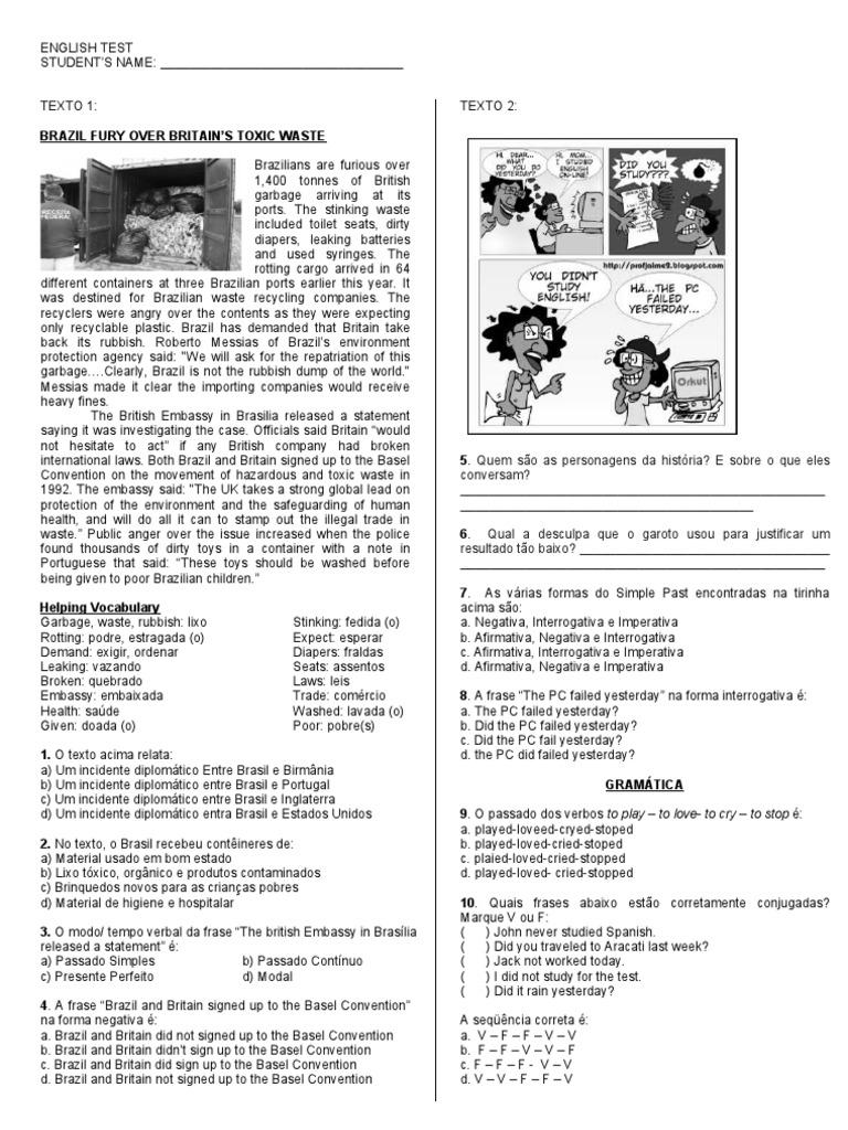 Super Teste de Inglês com Interpretação de texto   Municipal Solid Waste  RC97