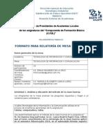 Formato de Relatoria de Mesa DeTrabajoTIC