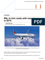 PAL to Trim Costs With New Planes in 2014
