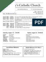 Bulletin for August 17, 2014