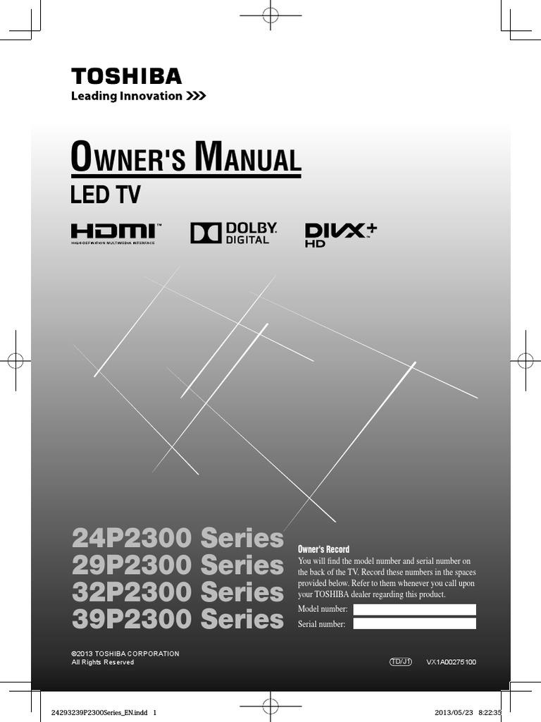 Toshiba crt television 27a33 user guide | manualsonline. Com.