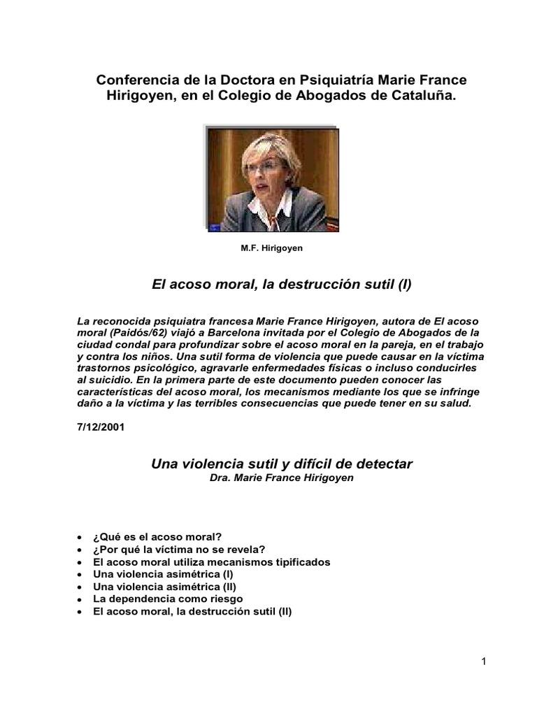 Hirigoyen Marie France Conferencia El Acoso Moral Intimidación Violencia