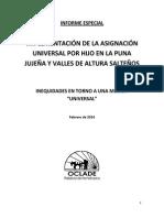 Implementación de La Asignación Universal Por Hijo en La Puna Jujeña y Valles de Altura Salteños - Oclade