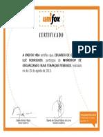 Certificado - Workshop Organizando Suas Finanças Pessoais - UNIFOX
