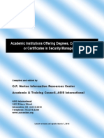 Academic Programs in Security