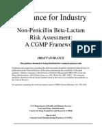 FDA Guidance Non Penicillin Beta Lactam Risk Assessment