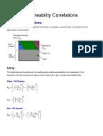 Relative Permeability Correlations
